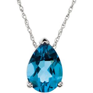 Pear swiss blue topaz 14k white gold ladies pendant slide aloadofball Gallery